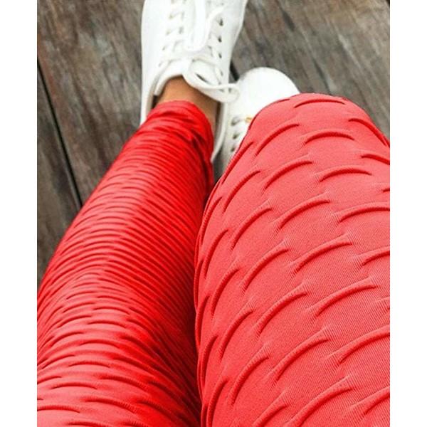 Czerwone Legginsy Sportowe, Brazylijskie, Modelujące, Karbowane